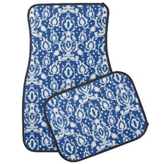 Casbahのモロッコの青および白いダマスク織 カーマット