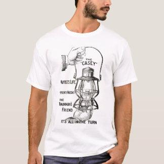 CASEYの鉄道ランタンの黒のデザインのワイシャツ Tシャツ