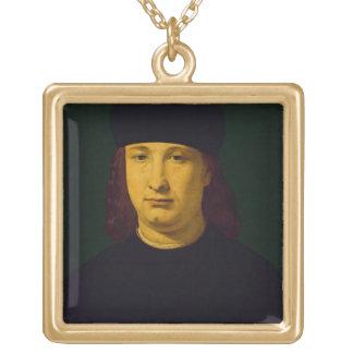 Casio、c.1495-1500 (パネルの油)詩人 ゴールドプレートネックレス