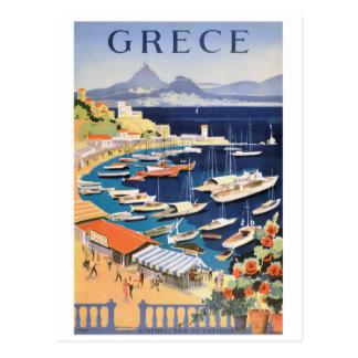 Castella旅行ポスターの1955年のギリシャアテネ湾 ポストカード