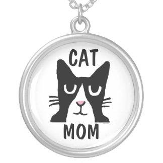 CATのお母さんのタキシード猫のネックレス シルバープレートネックレス