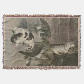 Catママおよび子ネコの投球毛布 スローブランケット