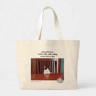 Cat™著俳句: 待っていること ラージトートバッグ