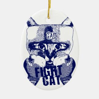 Cat Fight 陶器製卵型オーナメント