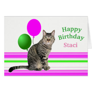 Cat with Balloons Birthday Card for Kids カード