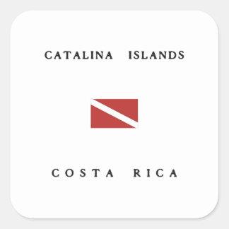 Catalinaの島のコスタリカのスキューバ飛び込みの旗 スクエアシール
