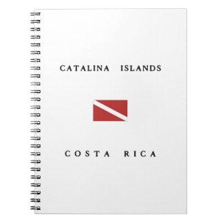 Catalinaの島のコスタリカのスキューバ飛び込みの旗 ノートブック
