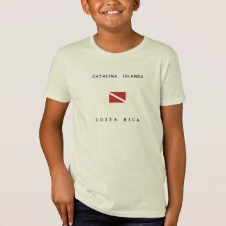Catalinaの島のコスタリカのスキューバ飛び込みの旗 Tシャツ