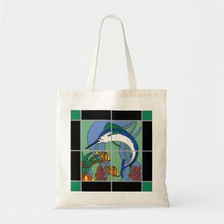 Catalinaの島のタイルのマカジキの壁画 トートバッグ