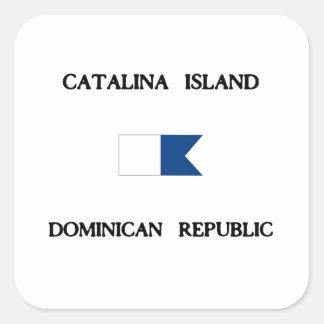 Catalinaの島のドミニカ共和国のアルファ飛び込みの旗 スクエアシール