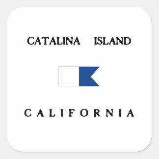 Catalinaの島カリフォルニアアルファ飛び込みの旗 スクエアシール