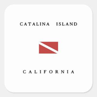 Catalinaの島カリフォルニアスキューバ飛び込みの旗 スクエアシール