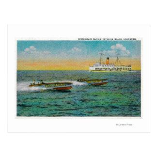 Catalinaの島、カリフォルニアの速度の船遊び ポストカード