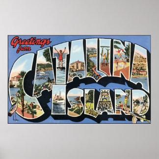 Catalinaの島、ヴィンテージからの挨拶 ポスター