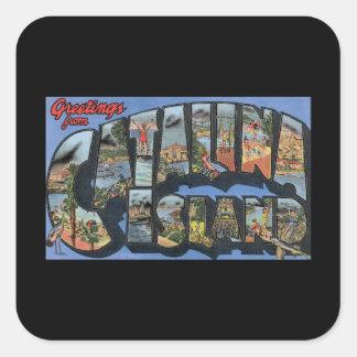 Catalina Island_Vintage旅行ポスターアートワーク スクエアシール