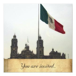 Catedral en el Zocalo del DFの詐欺のla Bandera Mexica カード