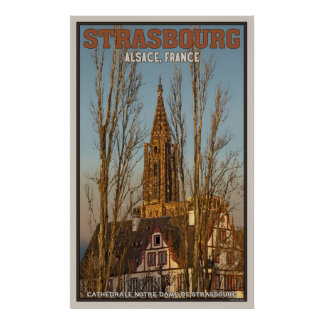 Cathédrale Notre Dameおよび木 ポスター