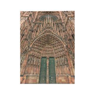 Cathedrale Notre Dame、ストラスブール、フランス ウッドポスター