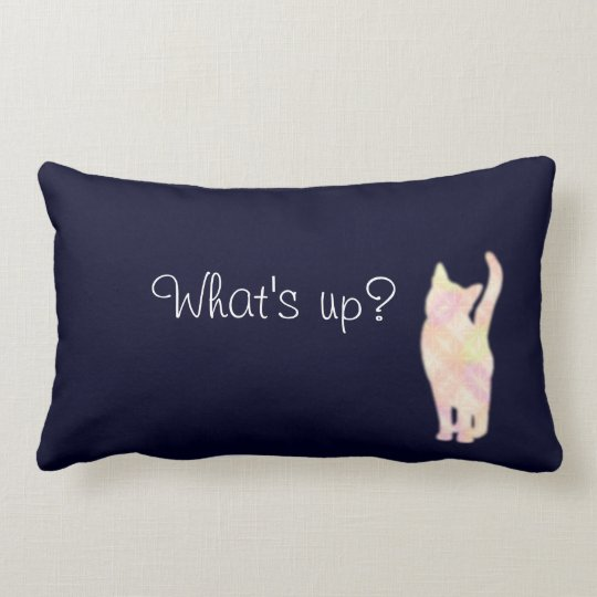 "Cat's グラデーション ""What's up?"" Blue クッション Throw Pillow ランバークッション"
