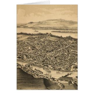 Catskillニューヨーク(1889年)のヴィンテージの絵解き地図 カード