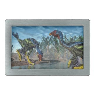 Caudipteryxの恐竜- 3Dは描写します 長方形ベルトバックル