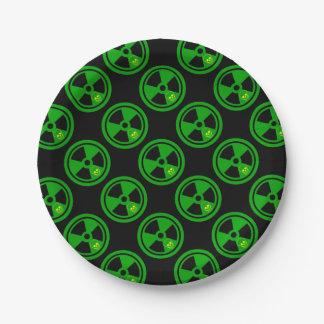 Caution Radioactive Sign With Skull ペーパープレート