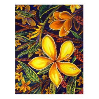 CBjorkの黄色い島のプルメリアの芸術 ポストカード