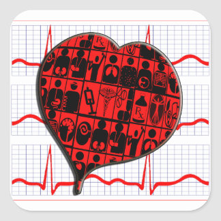 CCU|ハート|EKG|医学|専門 正方形シール・ステッカー