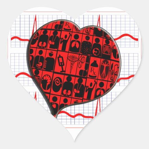 CCU|ハート|EKG|医学|専門 ハート形シール・ステッカー