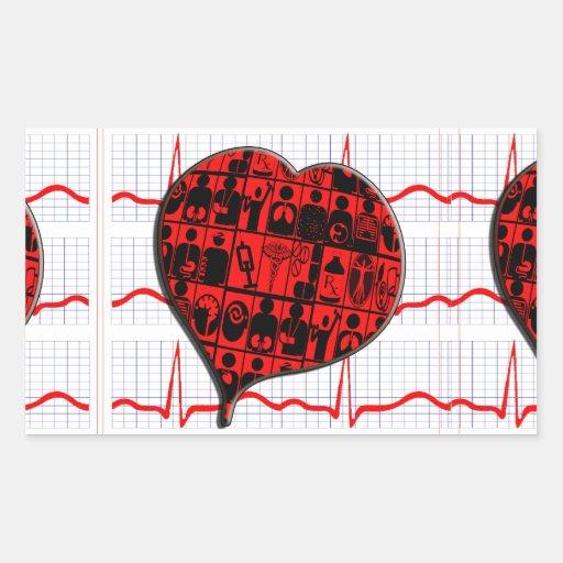 CCU|ハート|EKG|医学|専門 長方形シール・ステッカー
