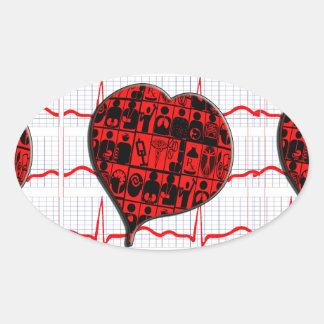 CCU|ハート|EKG|医学|専門 卵形シール・ステッカー
