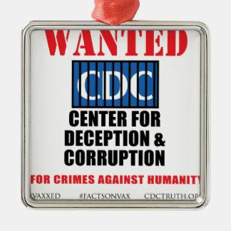 CDCの告発者の真実アンチワクチンSIDS VAXXED シルバーカラー正方形オーナメント
