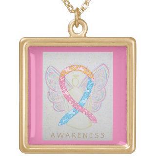CDHの認識度のリボンの天使のジュエリーのネックレス ゴールドプレートネックレス