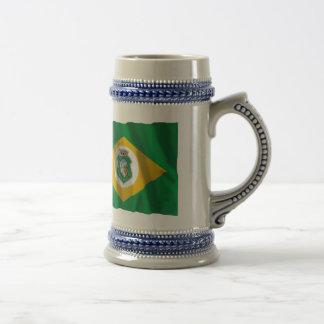 Ceará及びブラジルの振る旗 ビールジョッキ