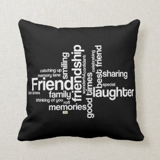Celebrate Friendship Black Square Pillow クッション