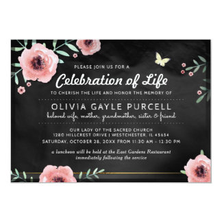 Celebration of Life Invite Pink & Black Floral カード