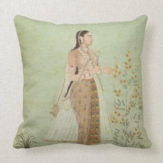 Celedon緑のMughalの女性、庭の装飾用クッション クッション