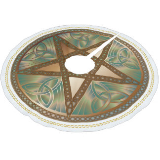 Celtic Knot Copper Pentagram Yuletide Tree Shirt ブラッシュドポリエステルツリースカート