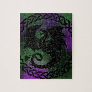 CelticCircleDragonPurpleGreen ジグソーパズル