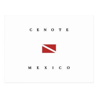 Cenoteメキシコのスキューバ飛び込みの旗 ポストカード