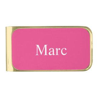 Ceriseピンクの名前入り 金色 マネークリップ