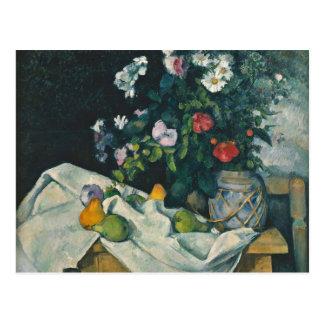 Cézanneの静物画の花およびフルーツのファインアート はがき