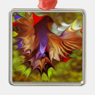CGBデジタルの芸術Warm.pngによるファンタジー飛行鳥 シルバーカラー正方形オーナメント