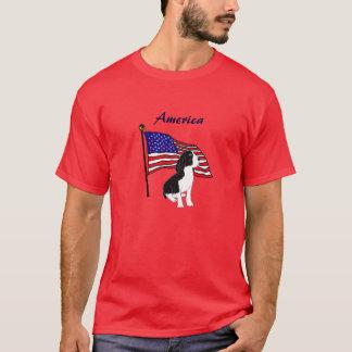 CHスプリンガースパニエルおよび旗のワイシャツ Tシャツ