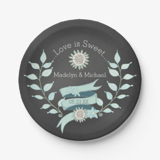 Chalkboadの青い花のカスタムな結婚式の紙皿 ペーパープレート