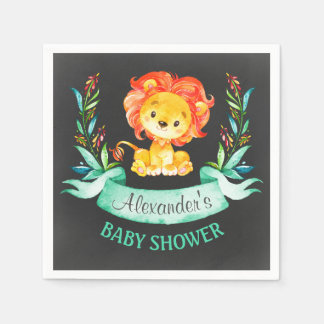 Chalkboard Watercolor Lion Baby Shower スタンダードカクテルナプキン