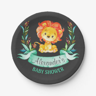 Chalkboard Watercolor Lion Baby Shower ペーパープレート