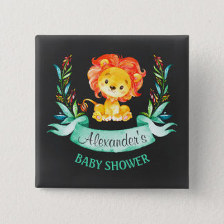 Chalkboard Watercolor Lion Baby Shower 5.1cm 正方形バッジ