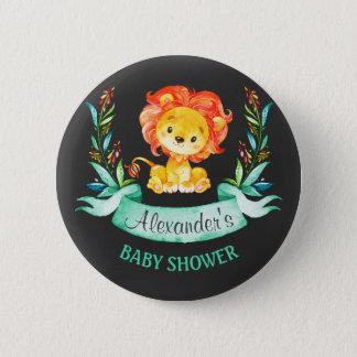 Chalkboard Watercolor Lion Baby Shower 5.7cm 丸型バッジ