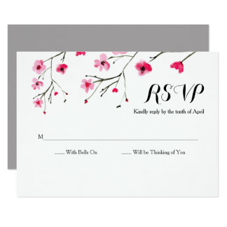 Chalkboard Watercolour Flower RSVP cards 8.9 X 12.7 インビテーションカード